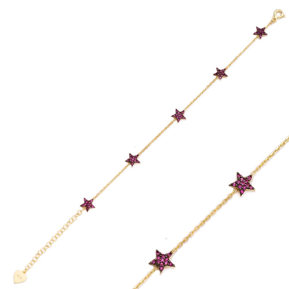 Ruby Stone Minimalist Star Design Wholesale 925 Sterling Silver Bracelet
