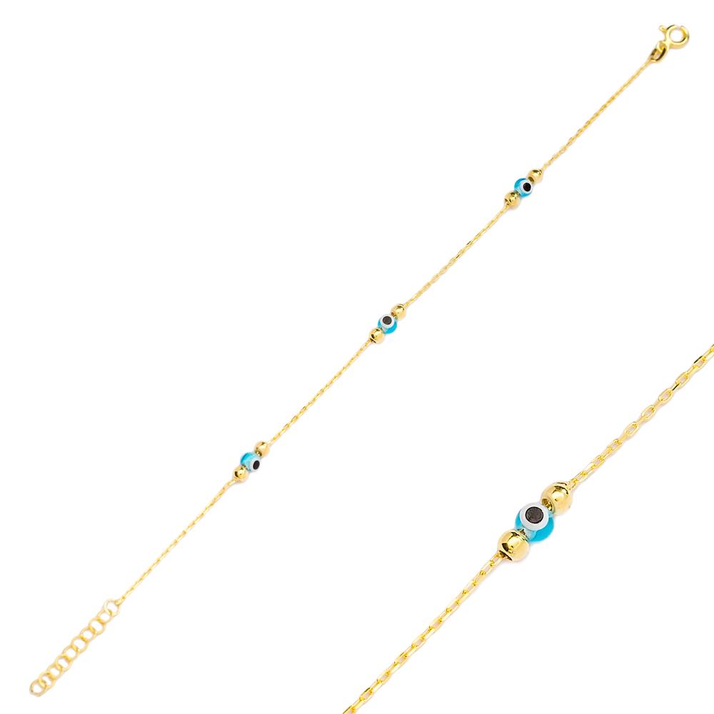 Aqua Marine Color Evil Eye Design Charm Thin Bracelet Turkish Wholesale Handmade 925 Sterling Silver Jewelry