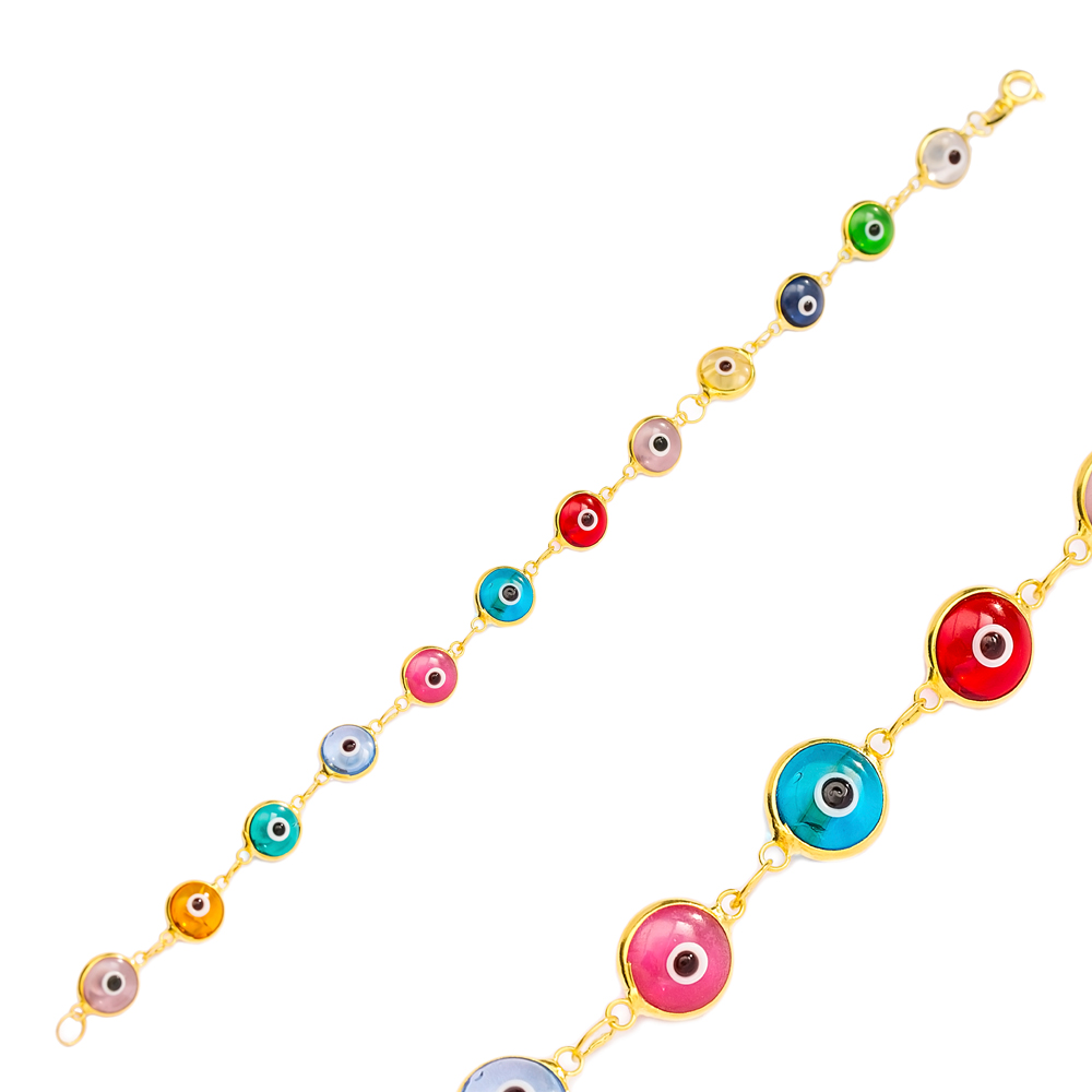 Transparent Colorful Ø8 mm Sized Evil Eye Design Charm Thin Bracelet Turkish Wholesale Handmade 925 Sterling Silver Jewelry
