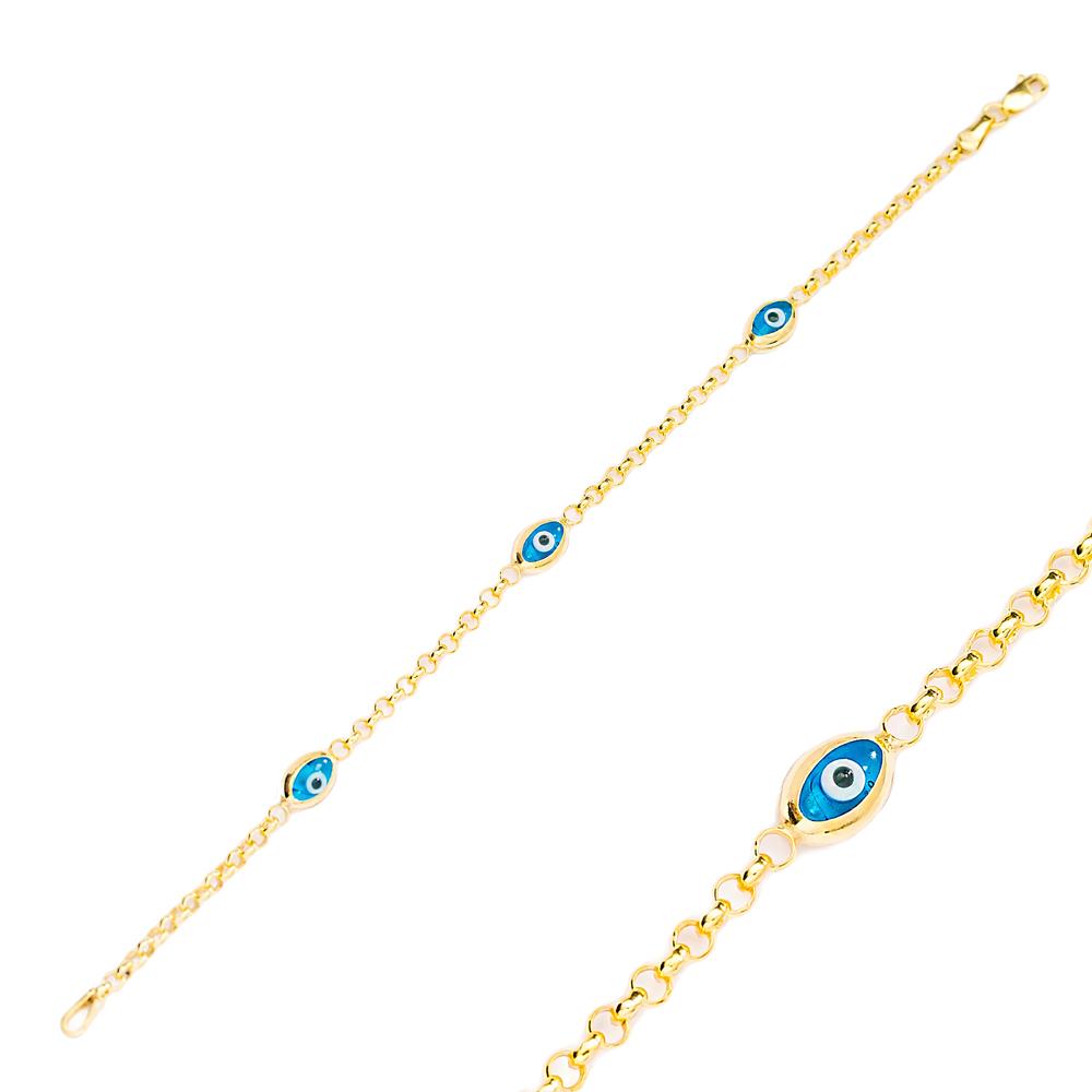 Oval Shape Evil Eye Design Charm Thin Bracelet Turkish Wholesale Handmade 925 Sterling Silver Jewelry