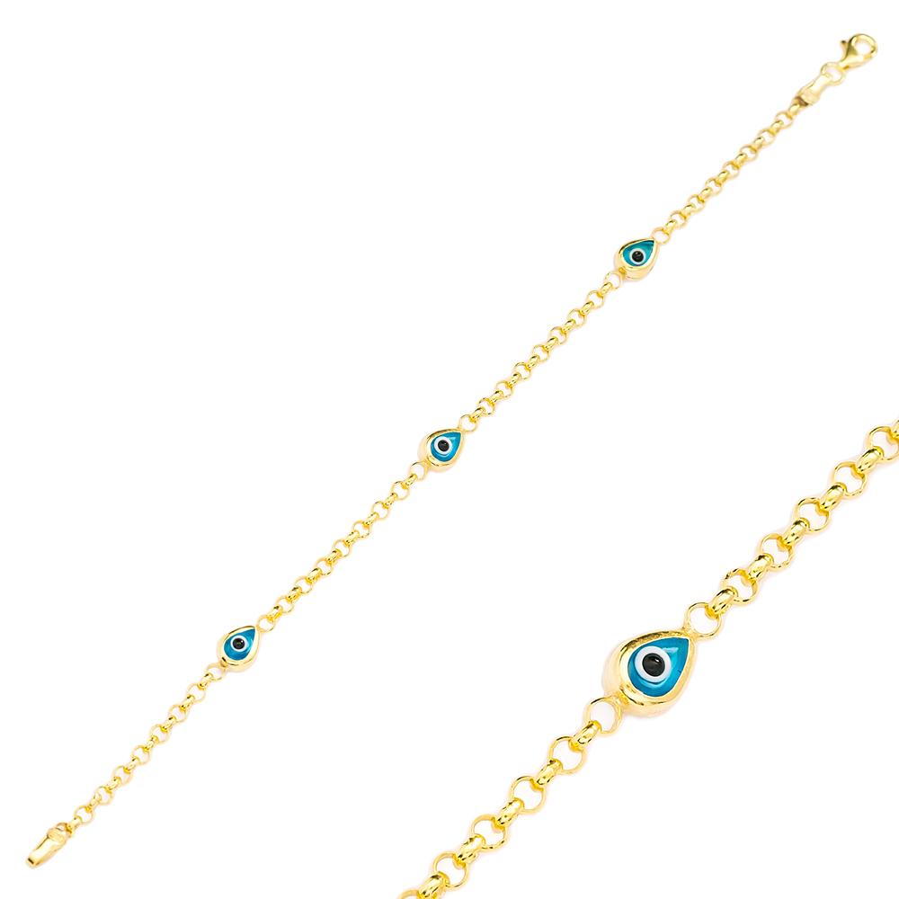Drop Shape Evil Eye Design Charm Thin Bracelet Turkish Wholesale Handmade 925 Sterling Silver Jewelry