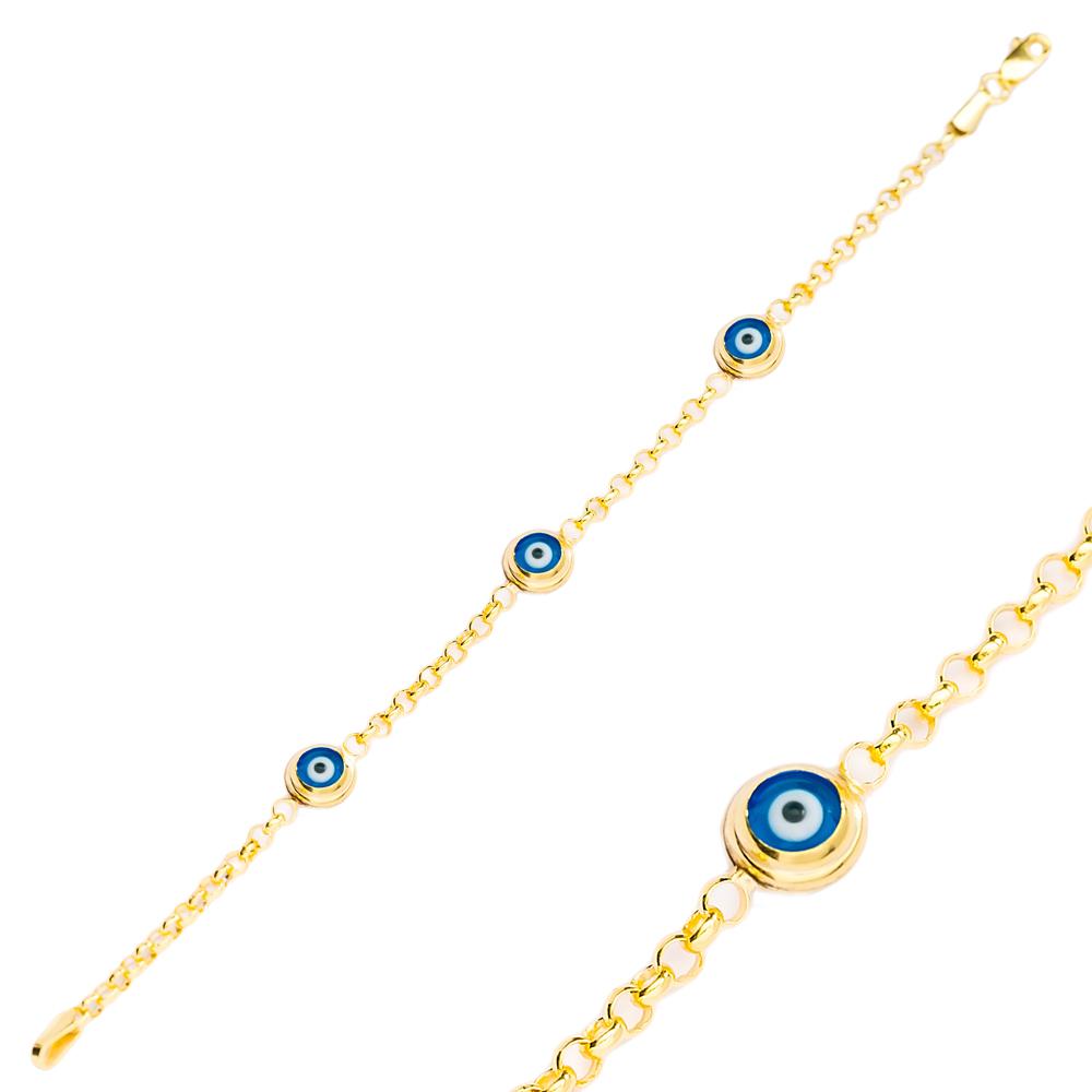 Round Shape Evil Eye Design Charm Thin Bracelet Turkish Wholesale Handmade 925 Sterling Silver Jewelry