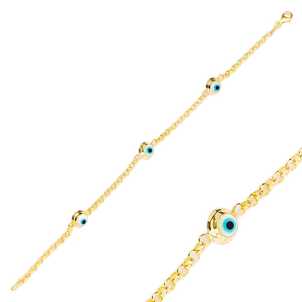 New Ø7 mm Sized Evil Eye Design Charm Bracelet Turkish Wholesale Handmade 925 Sterling Silver Jewelry