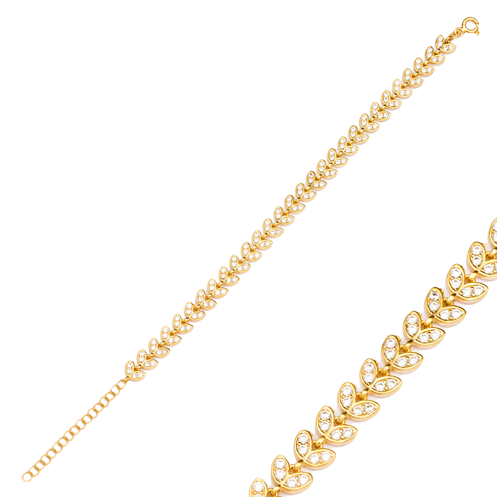 Dainty Palm Design Charm Zircon Bracelet Wholesale 925 Sterling Silver Jewelry
