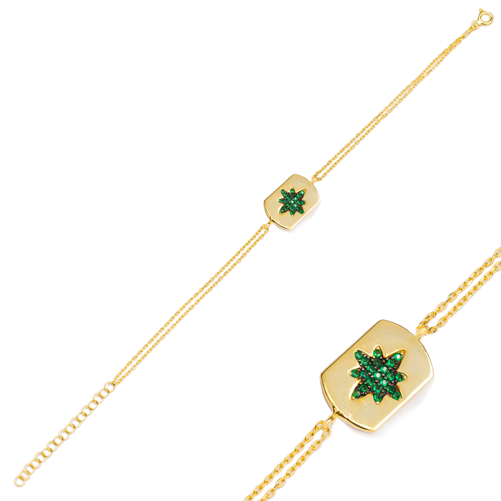 Emerald Stone Trendy Charm Bracelet Wholesale Turkish 925 Sterling Silver Jewelry