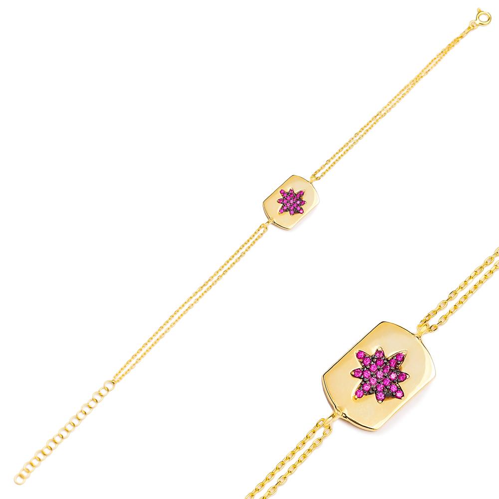 Ruby Stone Trendy Charm Bracelet Wholesale Turkish 925 Sterling Silver Jewelry