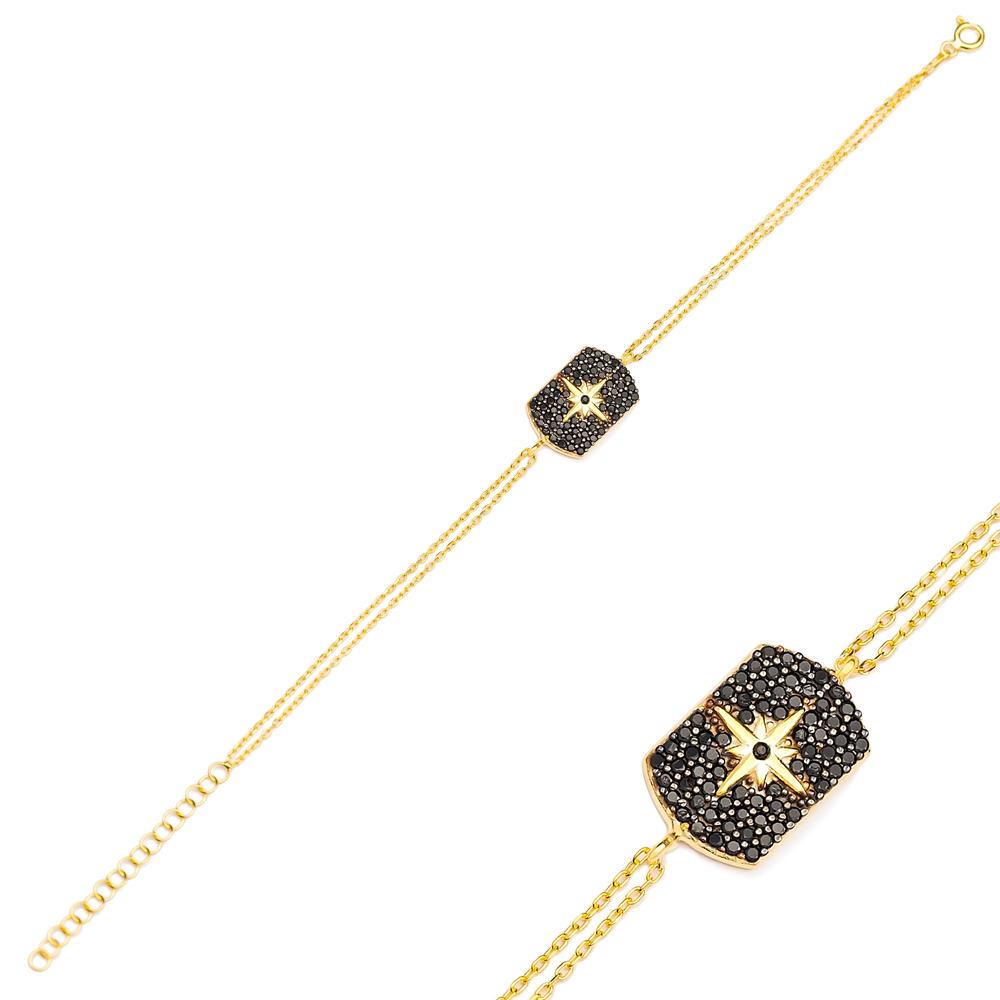 Fashion Black Zircon Charm Bracelet Wholesale Turkish 925 Sterling Silver Jewelry