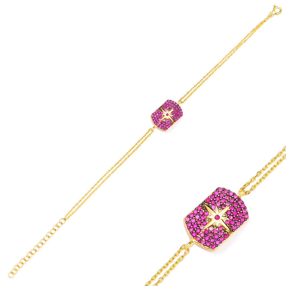 Fashion Ruby Charm Bracelet Wholesale Turkish 925 Sterling Silver Jewelry