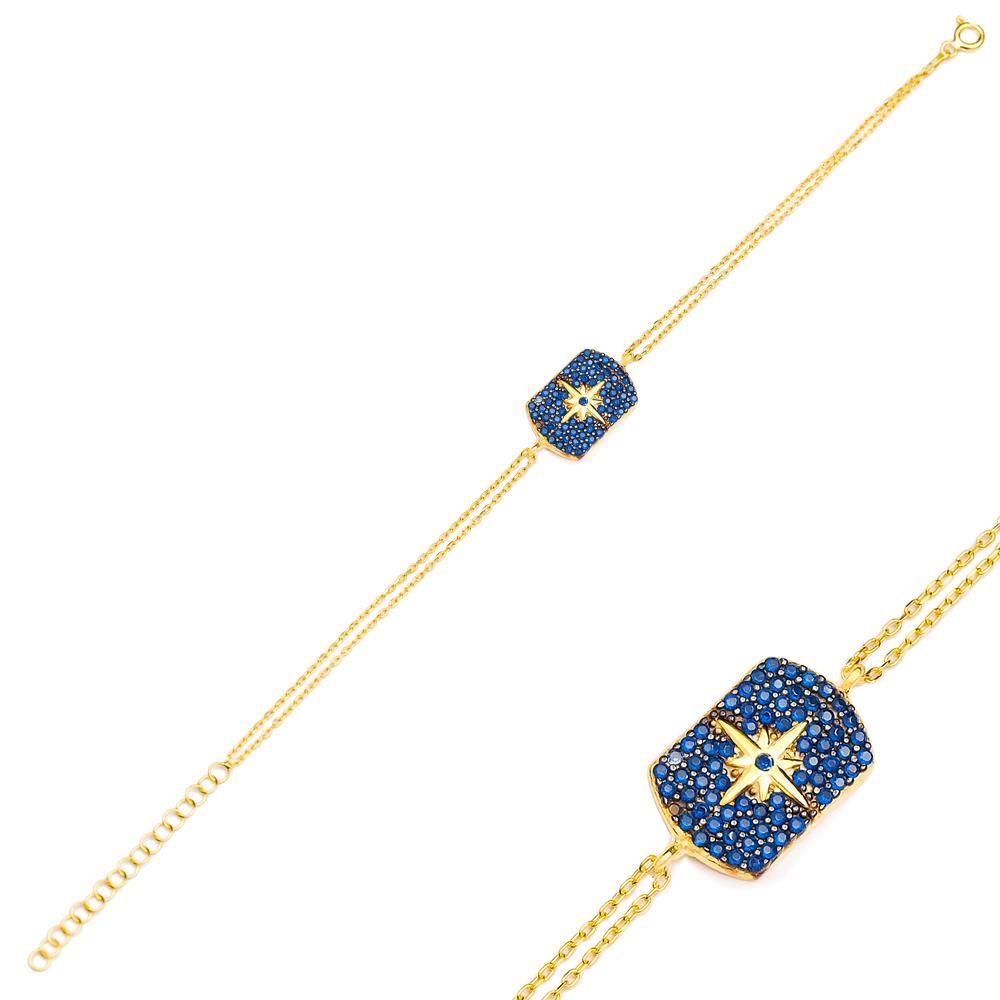 Fashion Sapphire Charm Bracelet Wholesale Turkish 925 Sterling Silver Jewelry