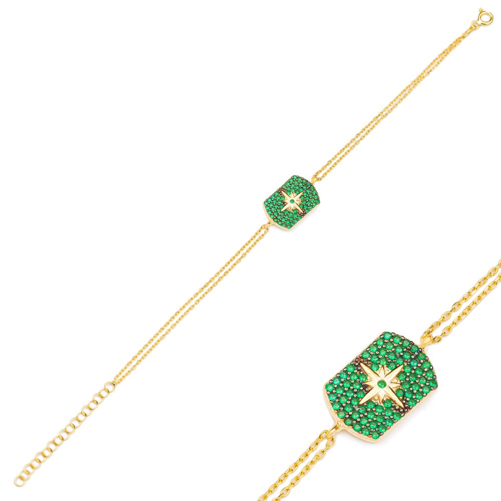 Fashion Emerald Charm Bracelet Wholesale Turkish 925 Sterling Silver Jewelry