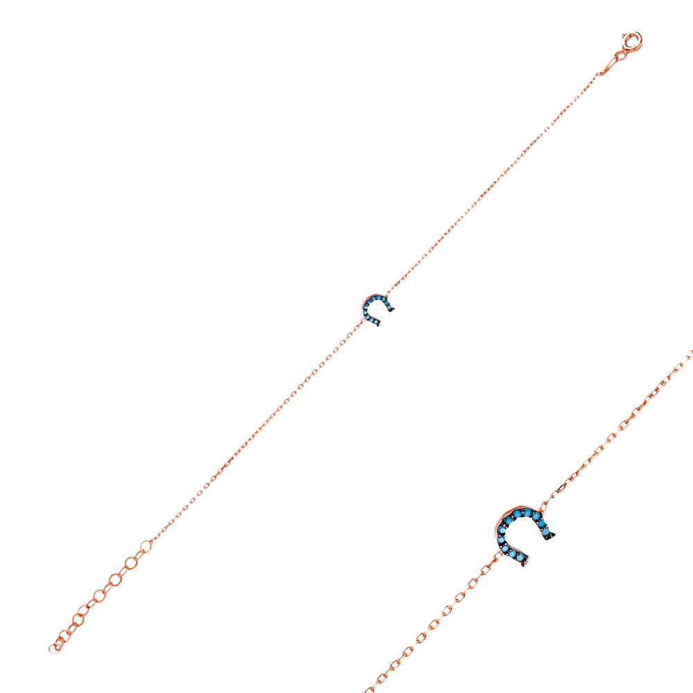 Micro Turquoise Turkish Wholesale Silver Horseshoe Bracelet