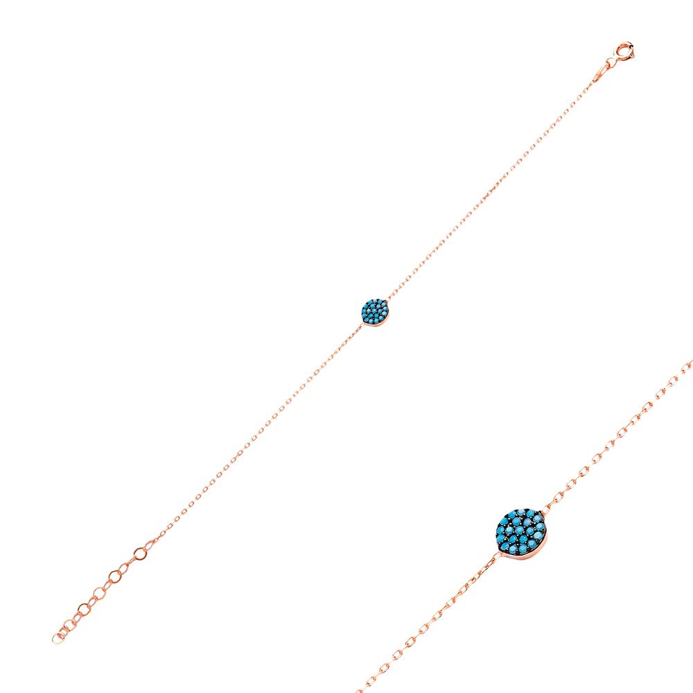 Micro Turquoise Turkish Wholesale Silver Circle Bracelet