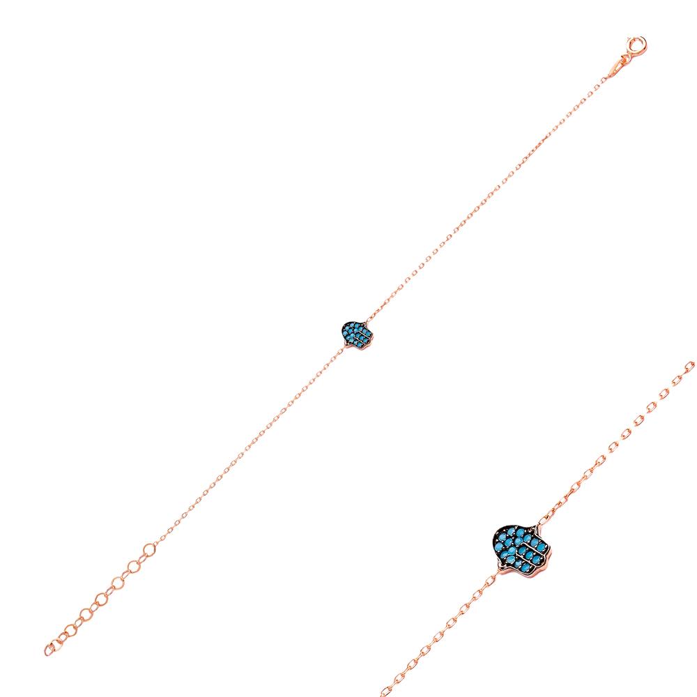 Micro Turquoise Turkish Wholesale Silver Hamsa Bracelet