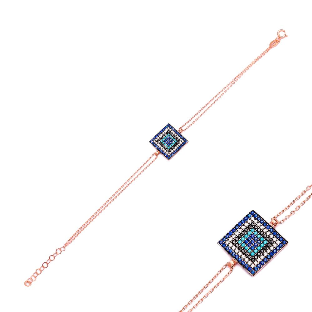 Sterling Silver Wholesale Handcraft Turkish Rectangle Design Bracelet