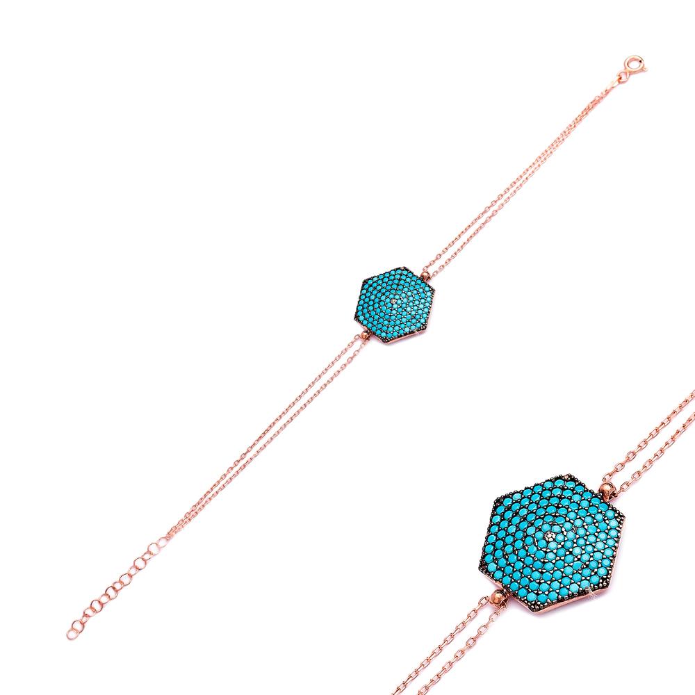 Sterling Silver Wholesale Handcraft Turkish Hexagon Design Bracelet