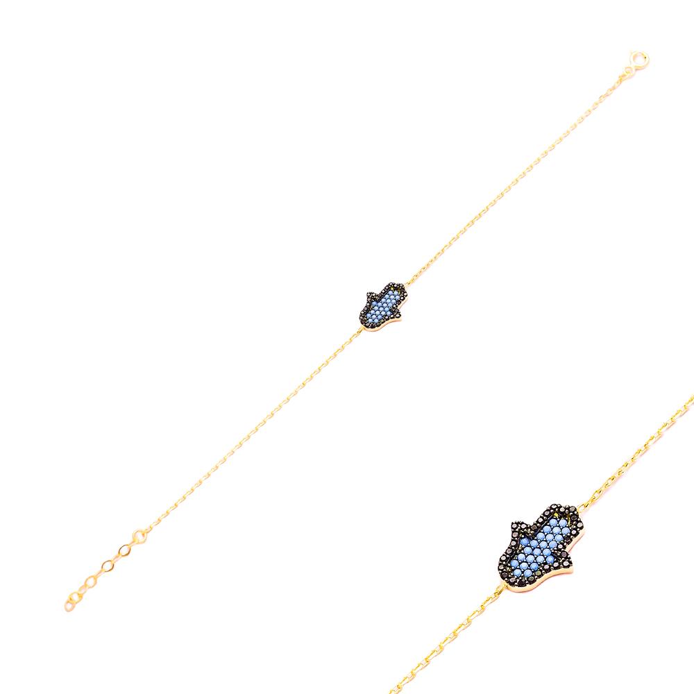 Sterling Silver Wholesale Handcraft Turquoise Hamsa Design Bracelet