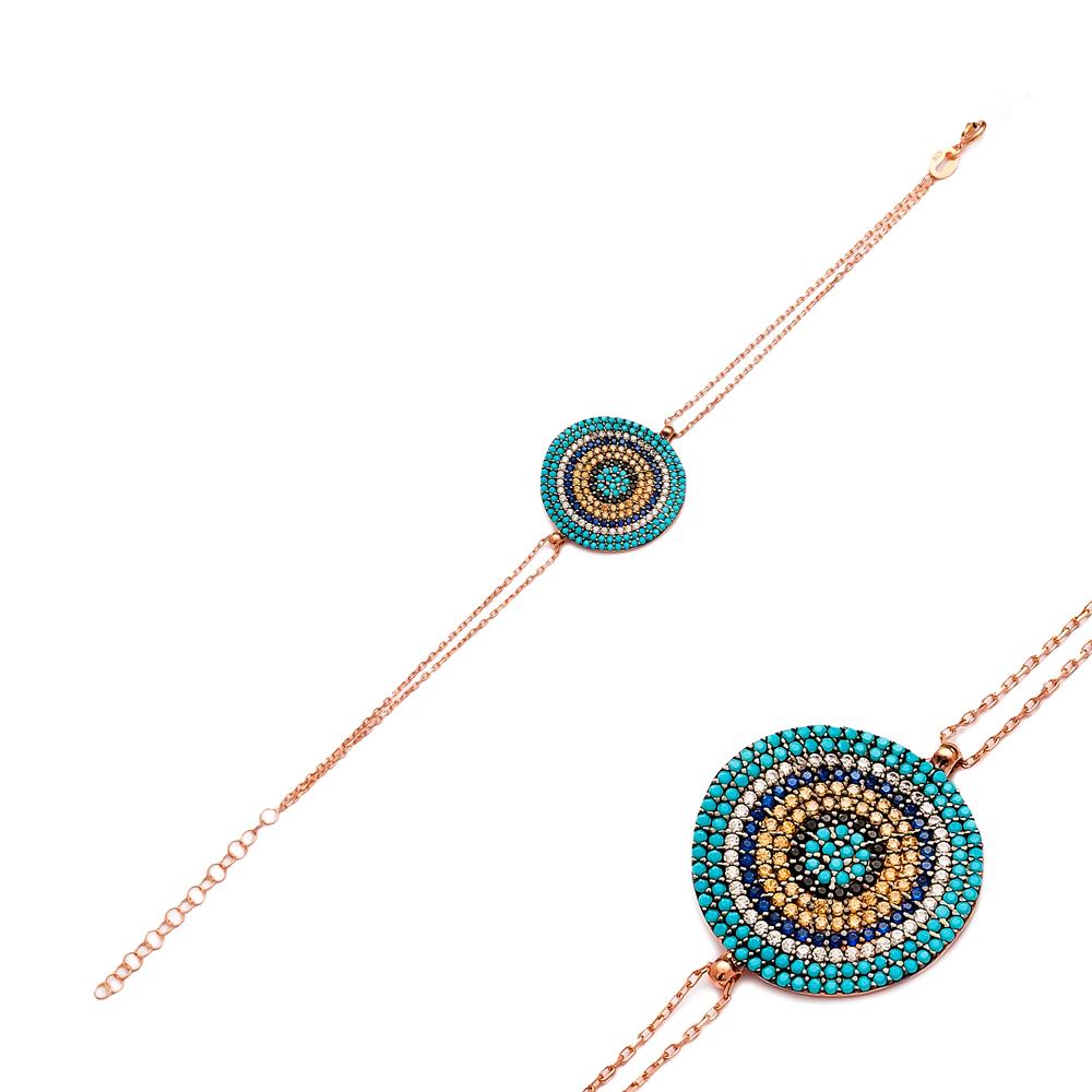 Bent Round Evil Eye Silver Sterling Bracelet Wholesale Handcraft Jewelry