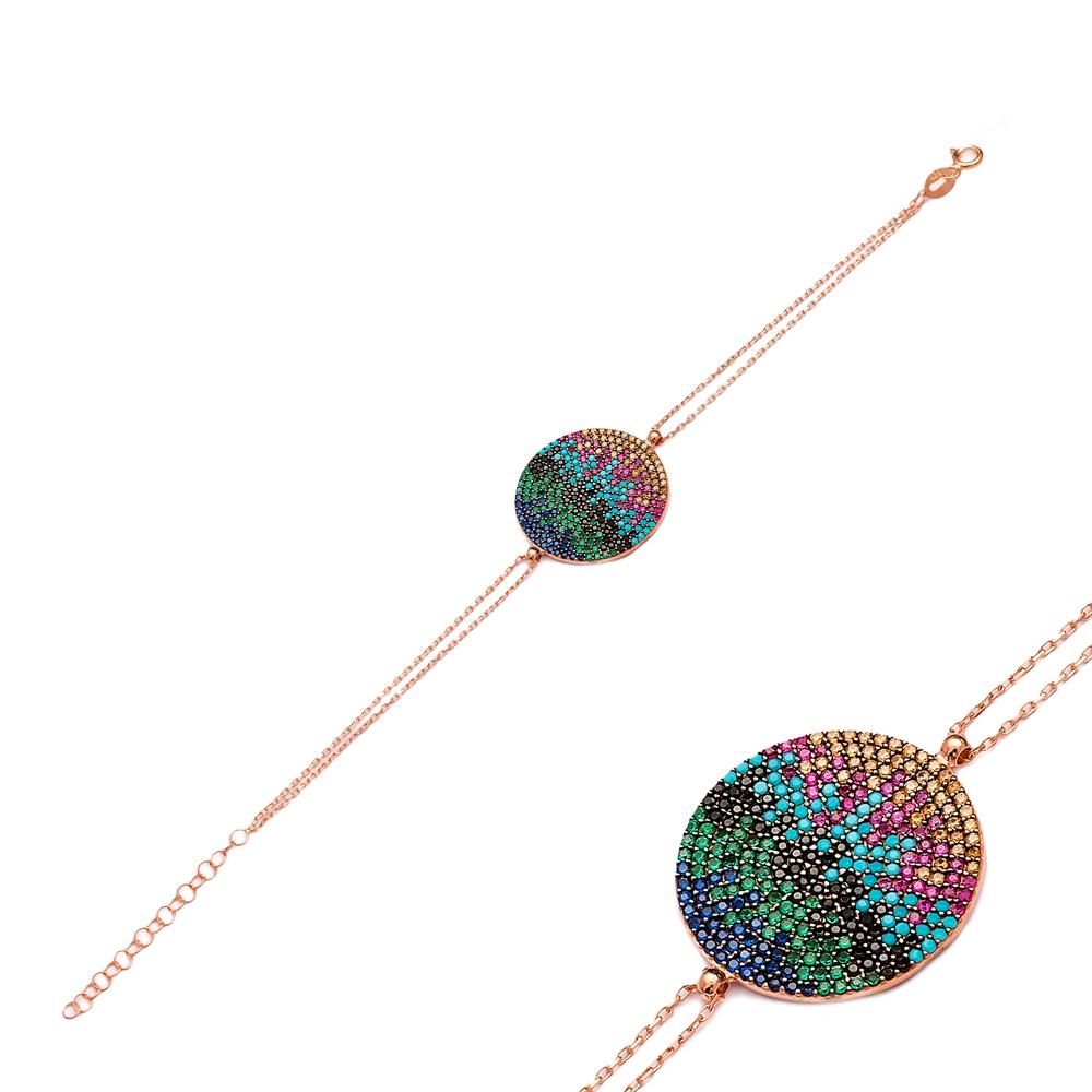Round Mix Stone Silver Sterling Bracelet Wholesale Handcraft Jewelry