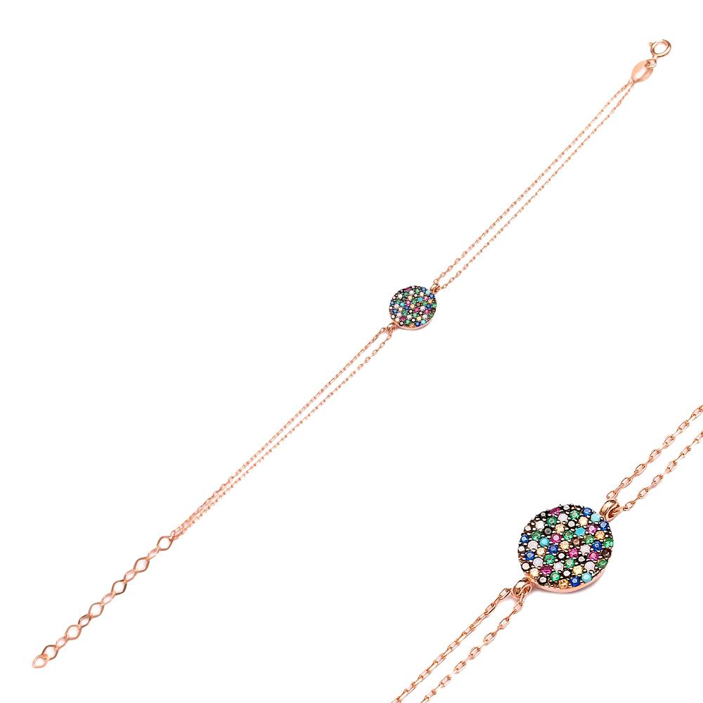 Mix Stone Round Bracelet Wholesale Handcraft Silver Sterling Jewelry