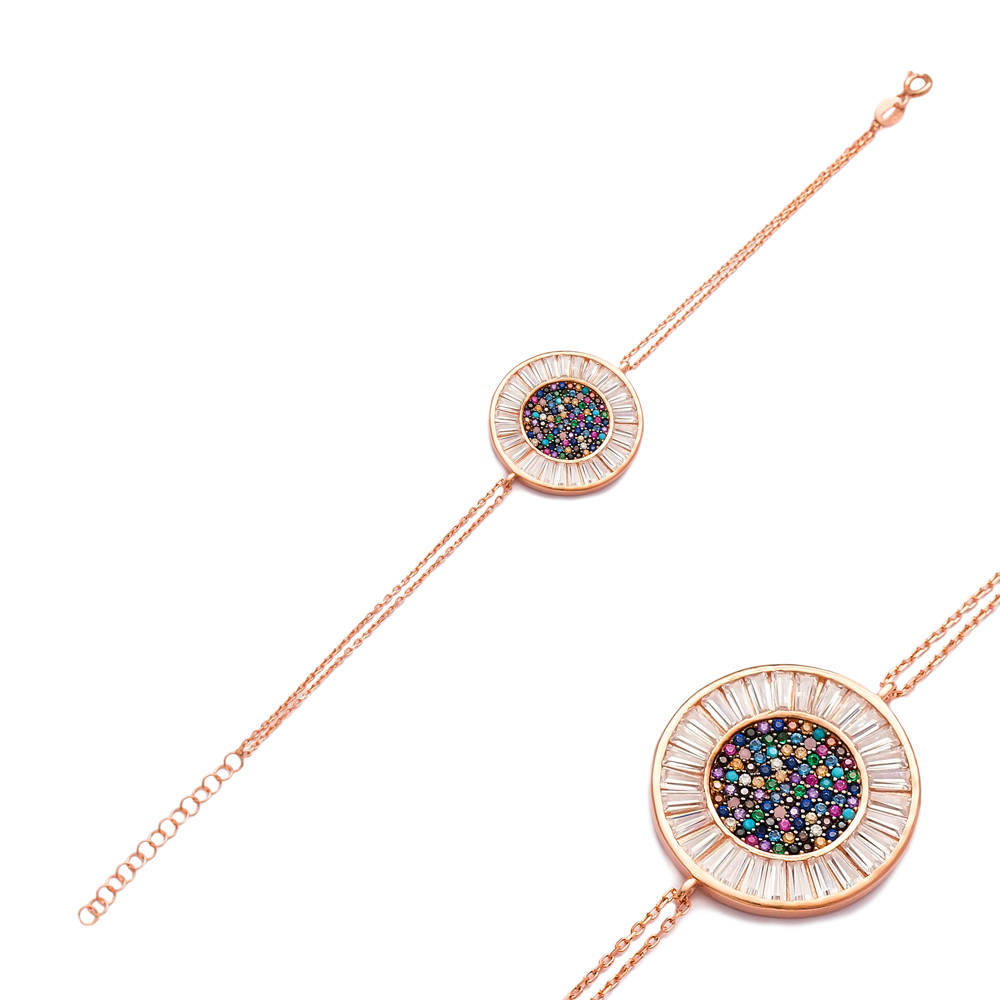 Rainbow Round Silver Sterling Bracelet Wholesale Handcraft Jewelry