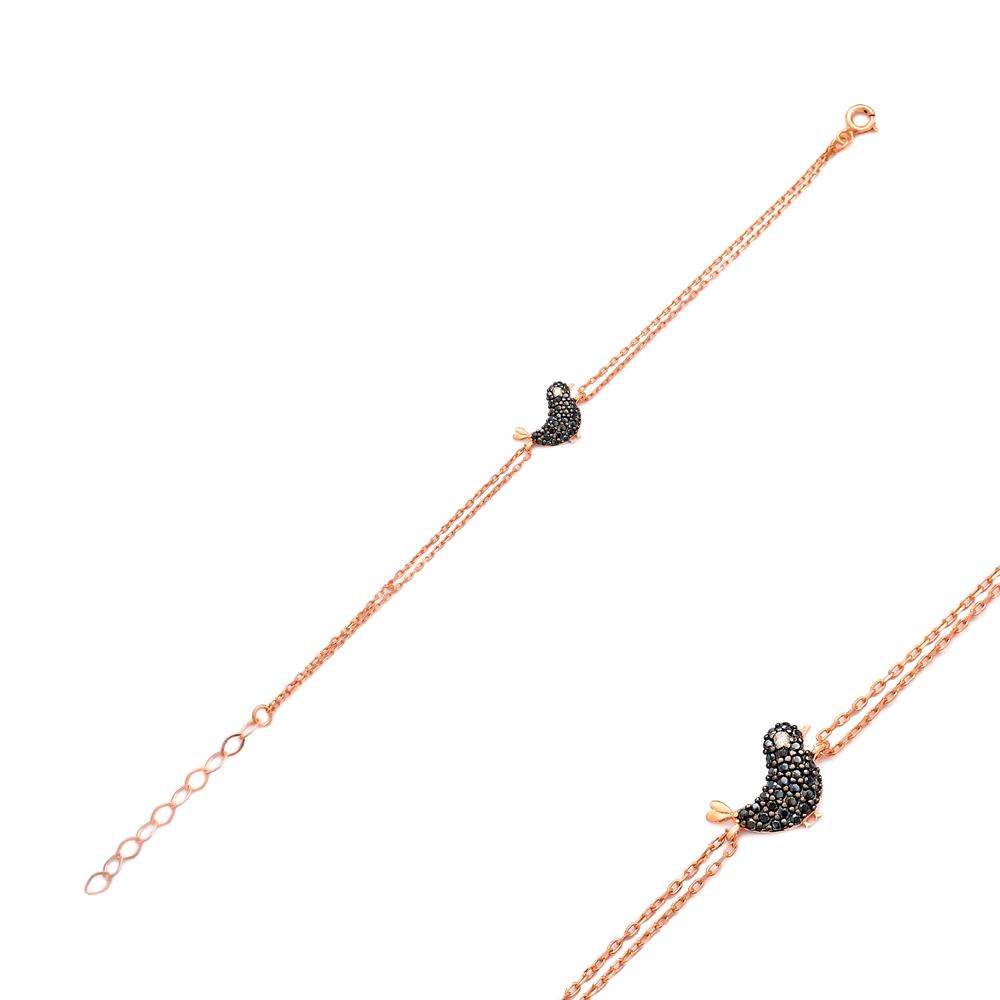 Minimalist Bird Gradient Zircon Design Turkish Wholesale 925 Sterling Silver Charm Bracelet