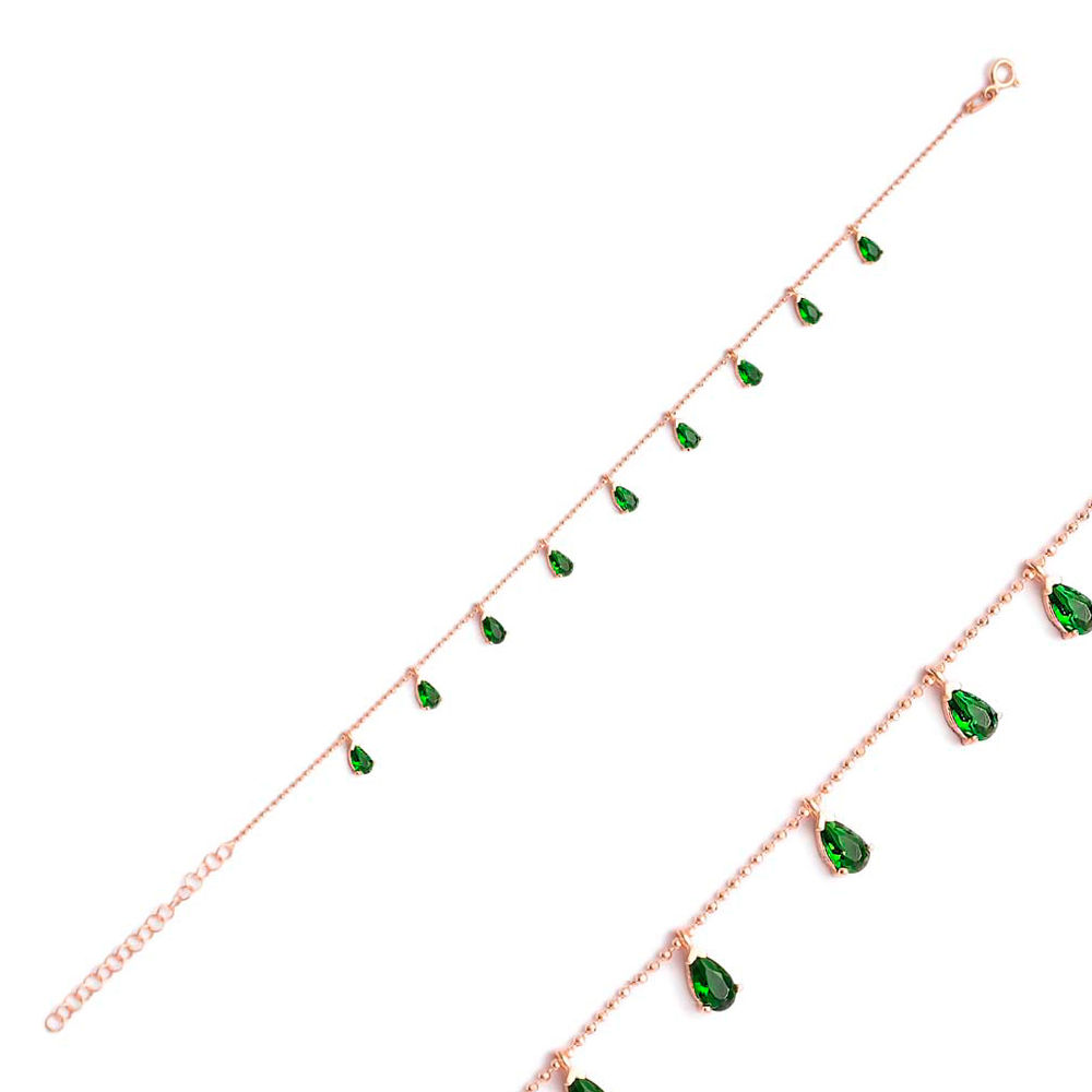 Minimalist Emerald Zircon Stone Drop Charm Bracelet Wholesale Sterling Silver Jewelry