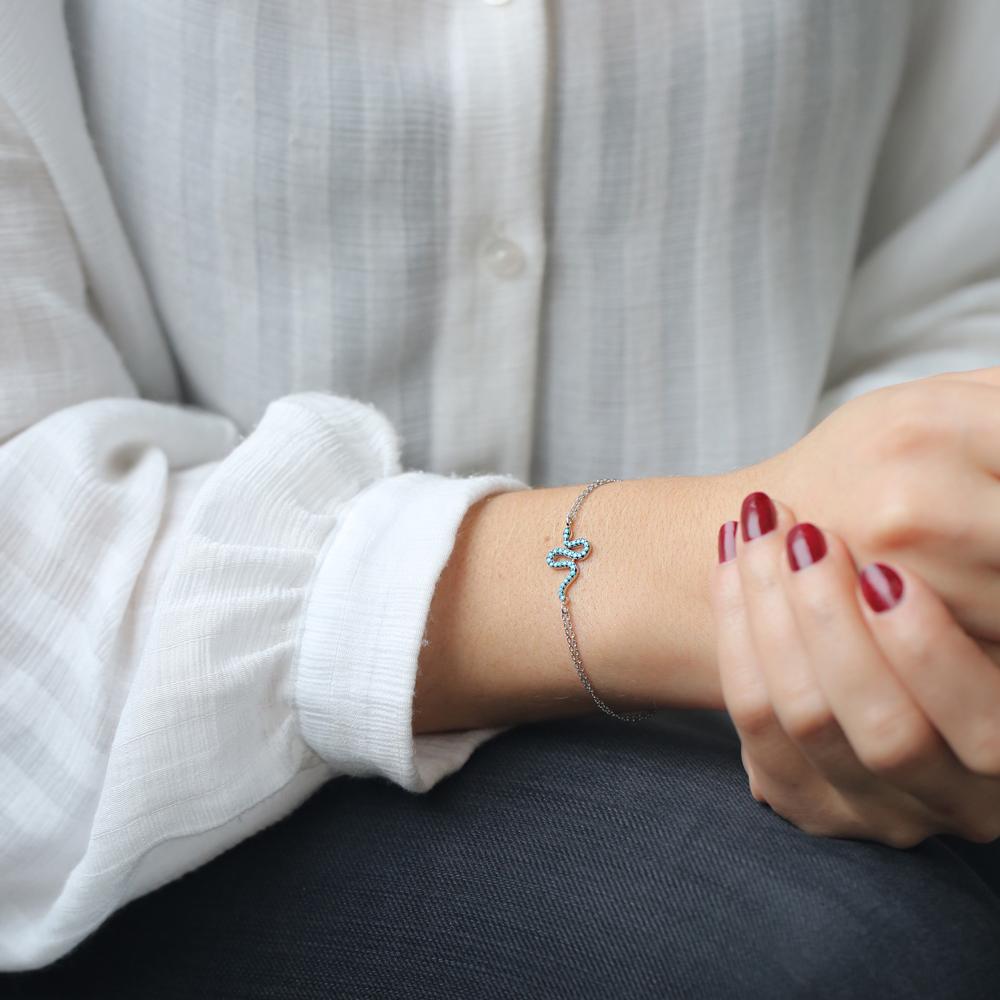 Minimalist Silver Sterling Snake Charm Bracelet Wholesale Handmade Jewelry