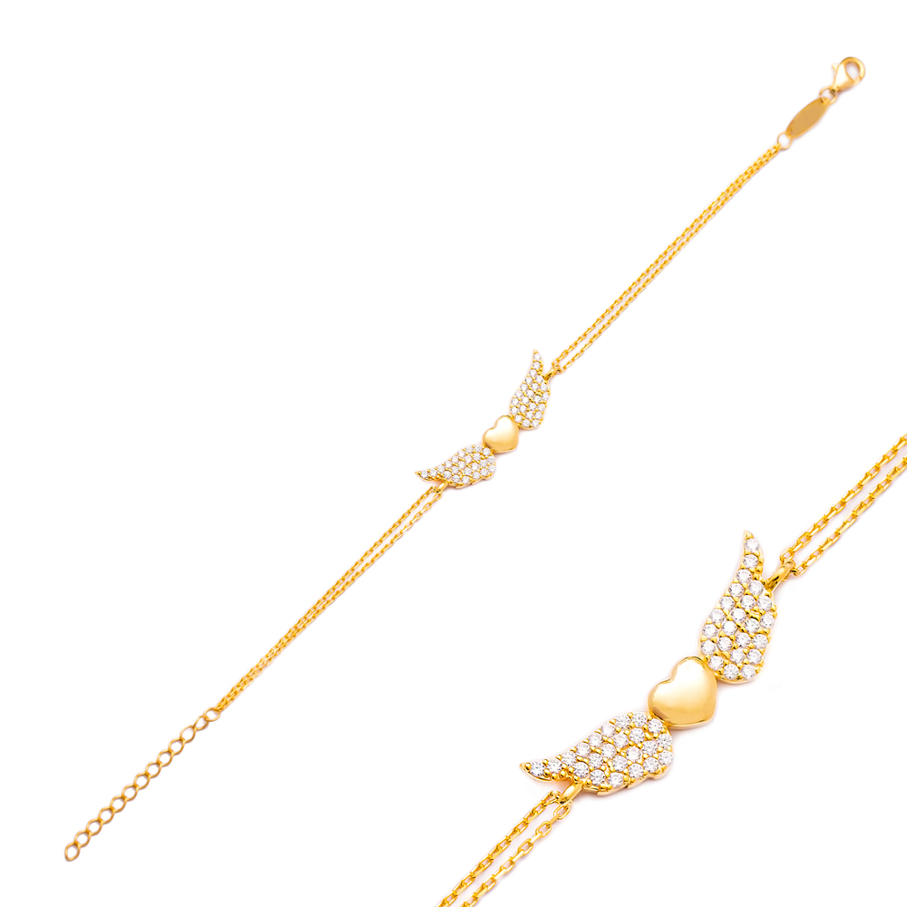 Minimalist Silver Sterling Angel Wings Charm Bracelet Wholesale Handcrafted Jewelry