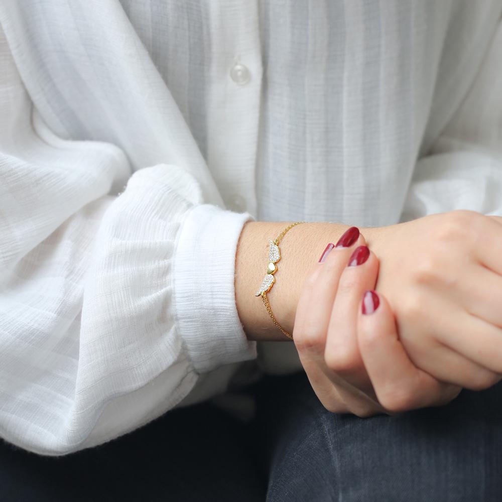 Minimalist Silver Sterling Angel Wings Charm Bracelet Wholesale Handmade Jewelry