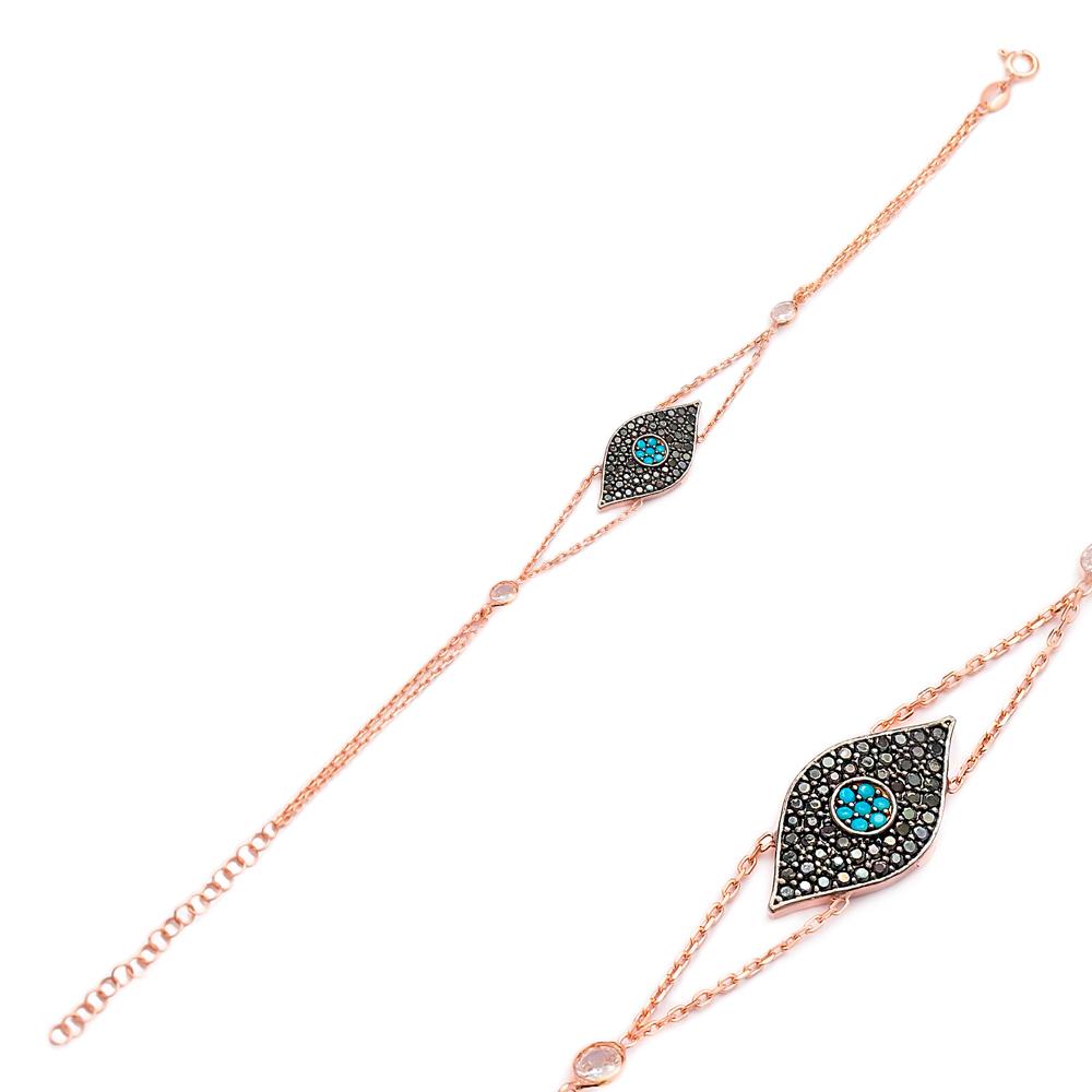 Evil Eye Charm Shaker Bracelet Wholesale 925 Sterling Silver Jewelry