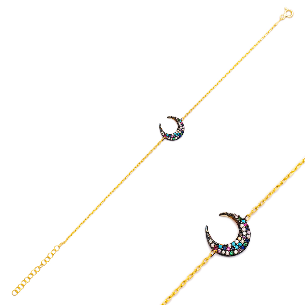Crescent Moon Charm Bracelet Wholesale 925 Sterling Silver Jewelry