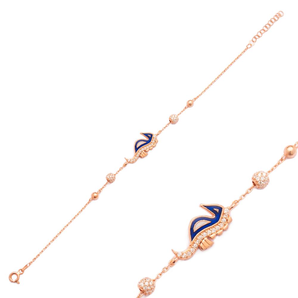 Enamel Seahorse Design Bracelet Wholesale 925 Sterling Silver Jewelry