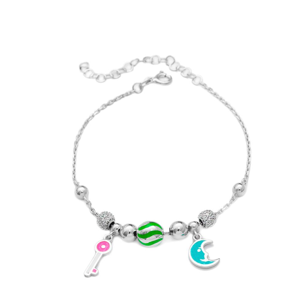 Enamel Moon & Key Charm Bracelet Wholesale 925 Sterling Silver Jewelry