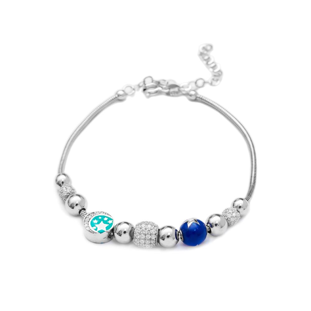 Enamel Star Charm Bracelet Wholesale 925 Sterling Silver Jewelry