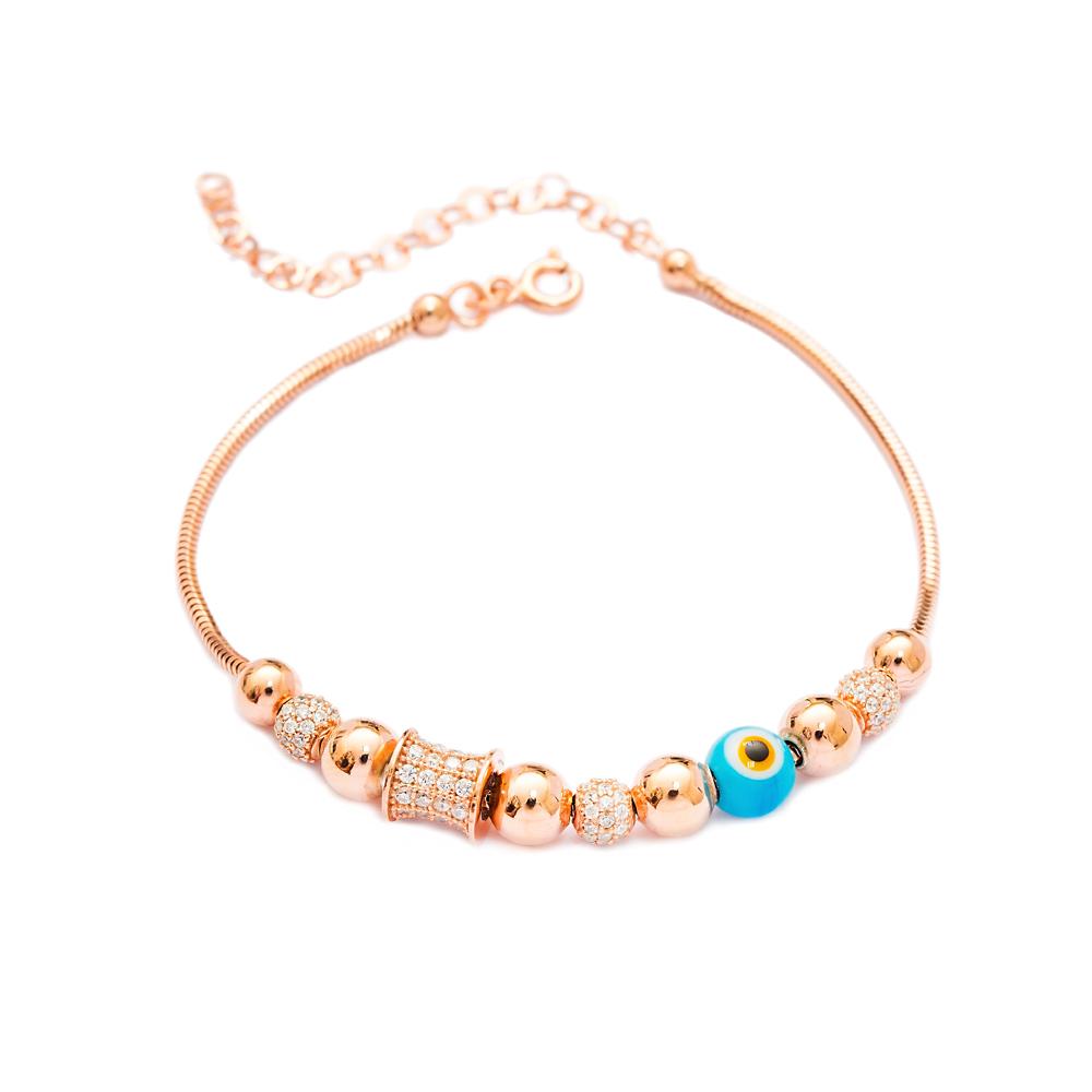 Enamel Evil Eye Charm Bracelet Wholesale 925 Sterling Silver Jewelry