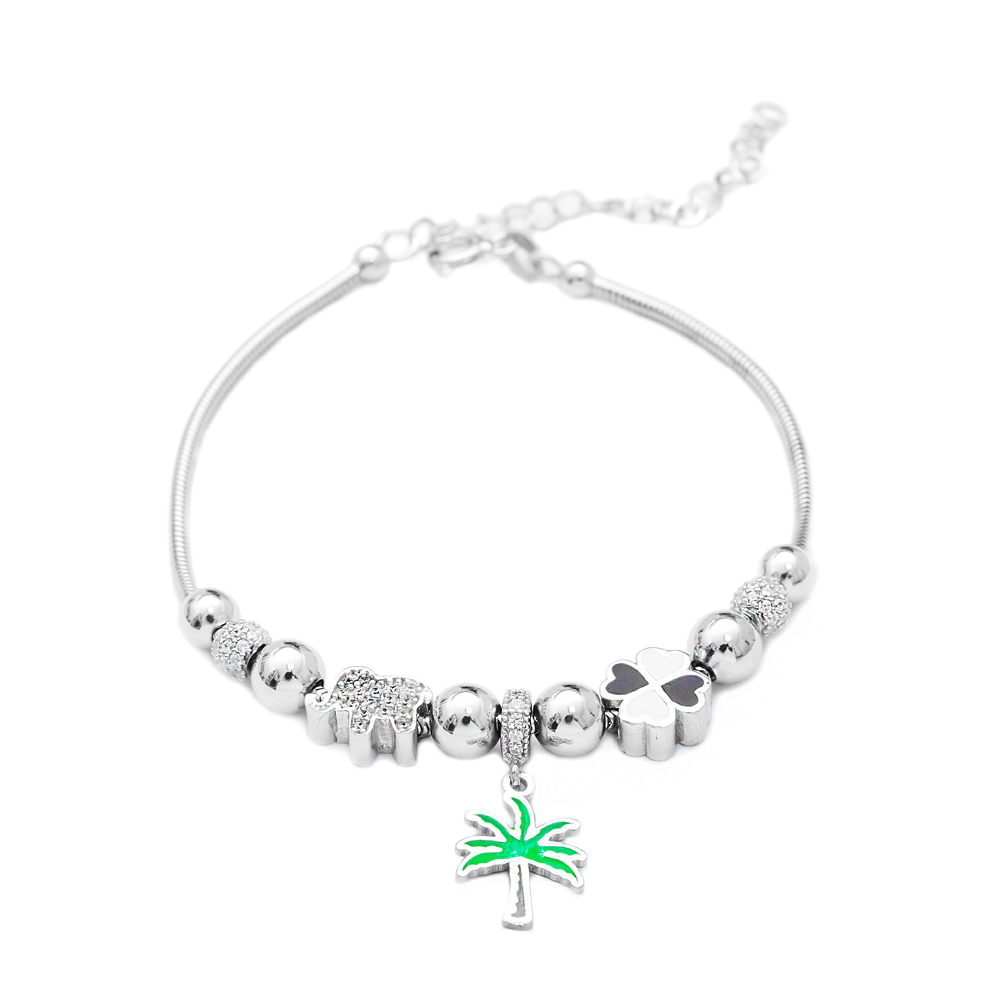 Enamel Palm Charm Bracelet Wholesale 925 Sterling Silver Jewelry