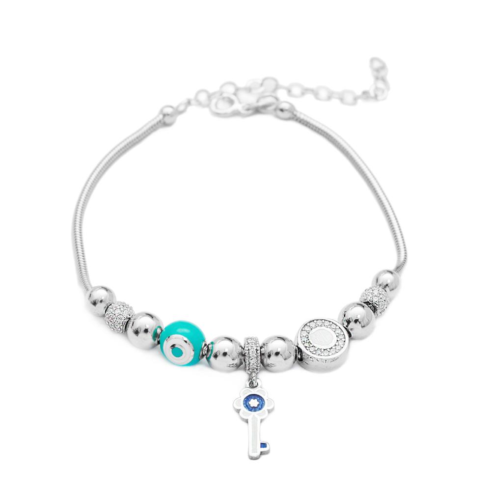 Enamel Key Charm Bracelet Wholesale 925 Sterling Silver Jewelry
