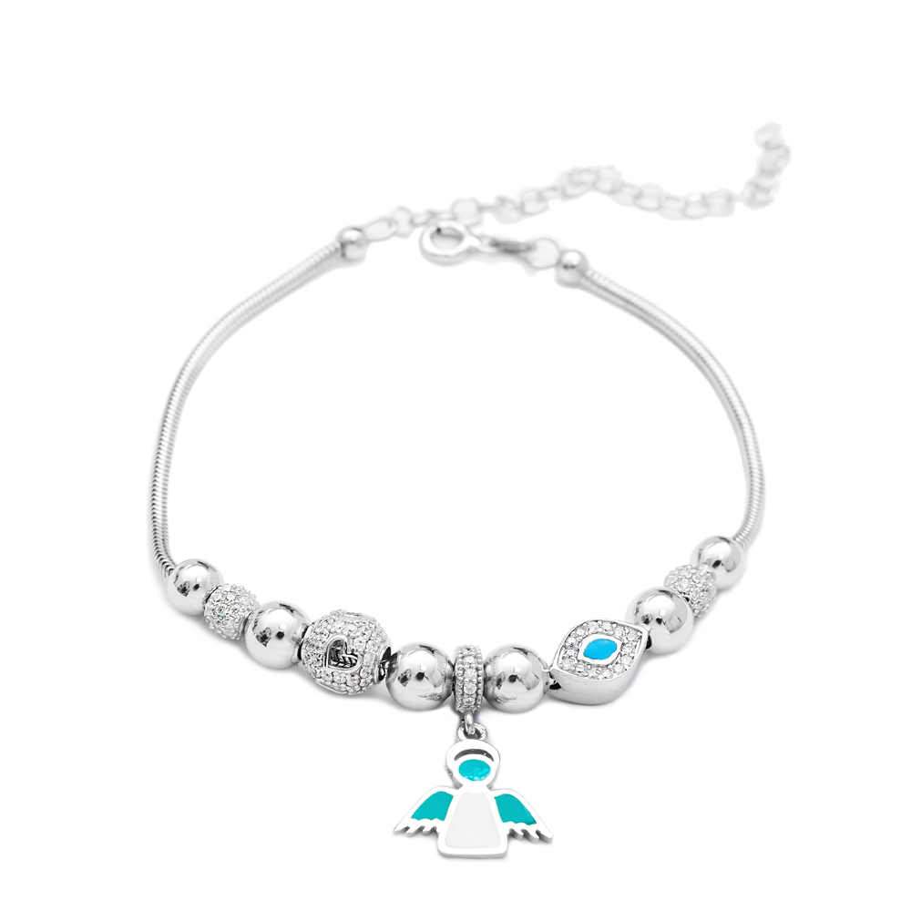 Enamel Angle Charm Bracelet Wholesale 925 Sterling Silver Jewelry