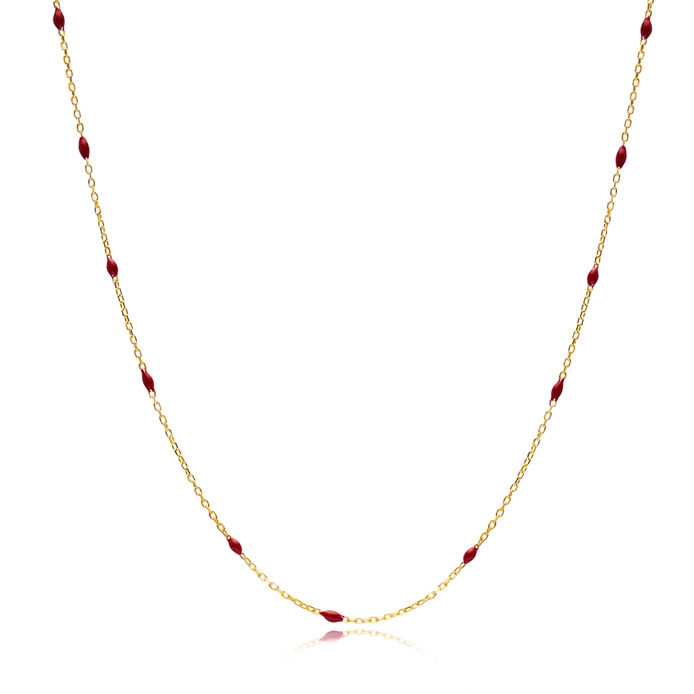 30 Force Dark Red Enamel Chain Turkish Wholesale 925 Sterling Silver Necklace
