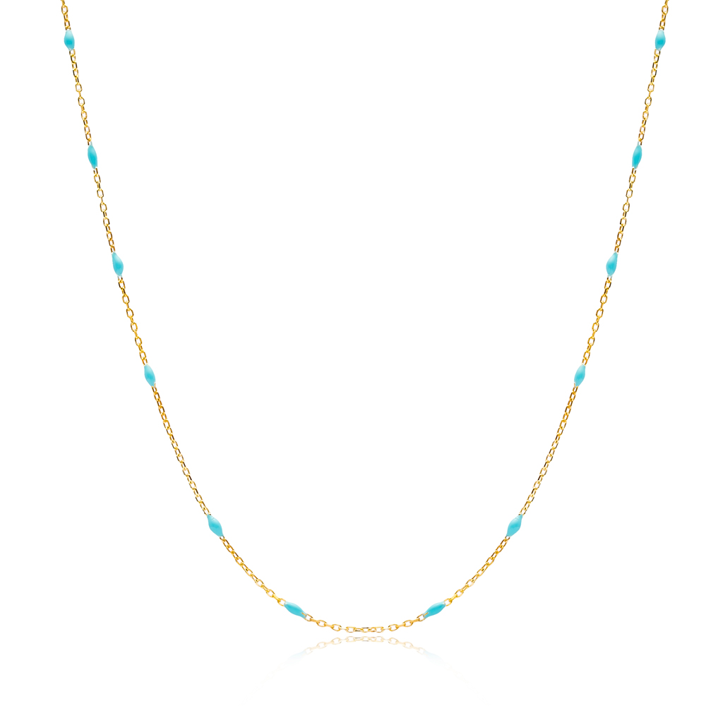 30 Force Turquoise Enamel Chain Turkish Wholesale 925 Sterling Silver Necklace