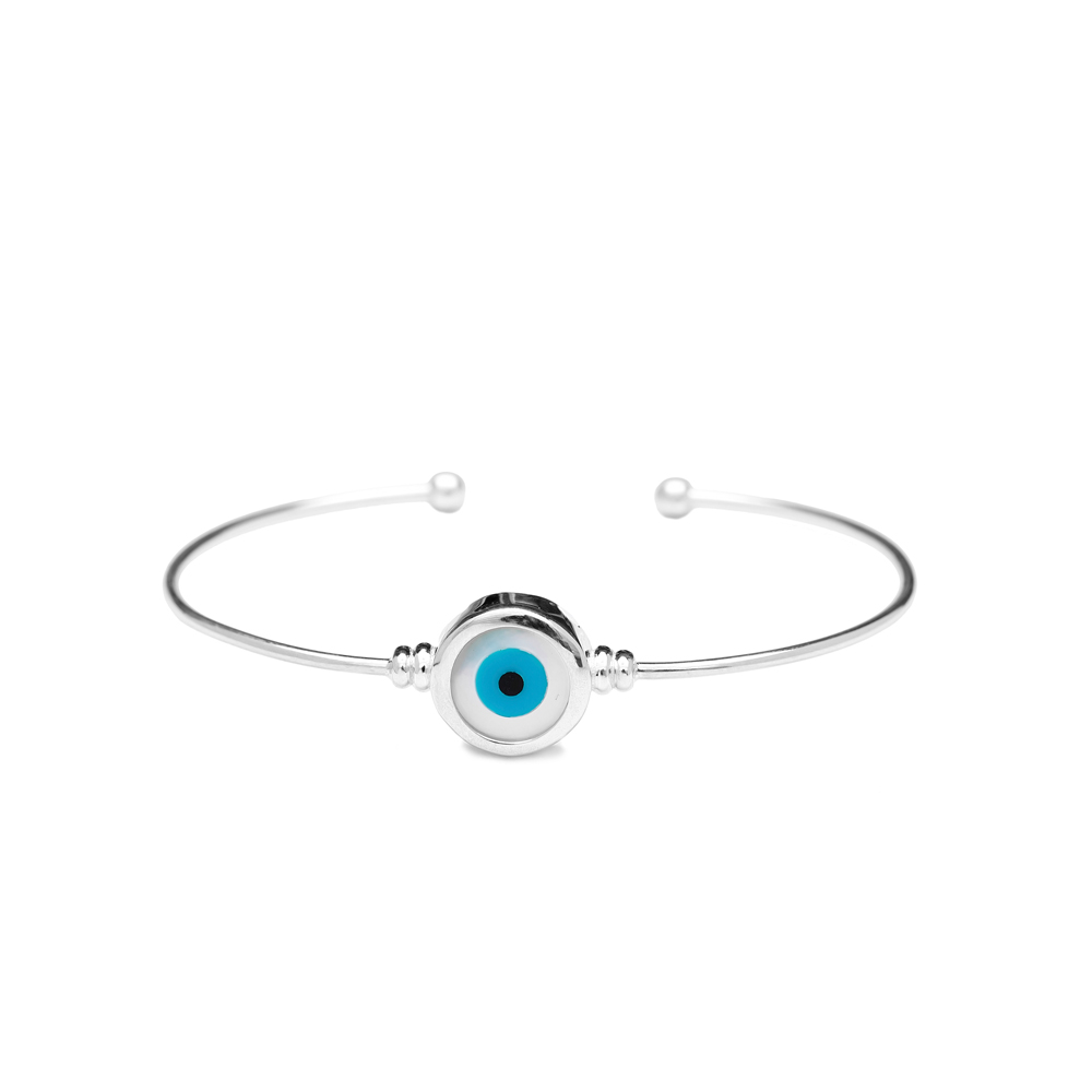 Evil Eyes Wholesale Handmade Turkish Sterling Silver Cuff Bangle