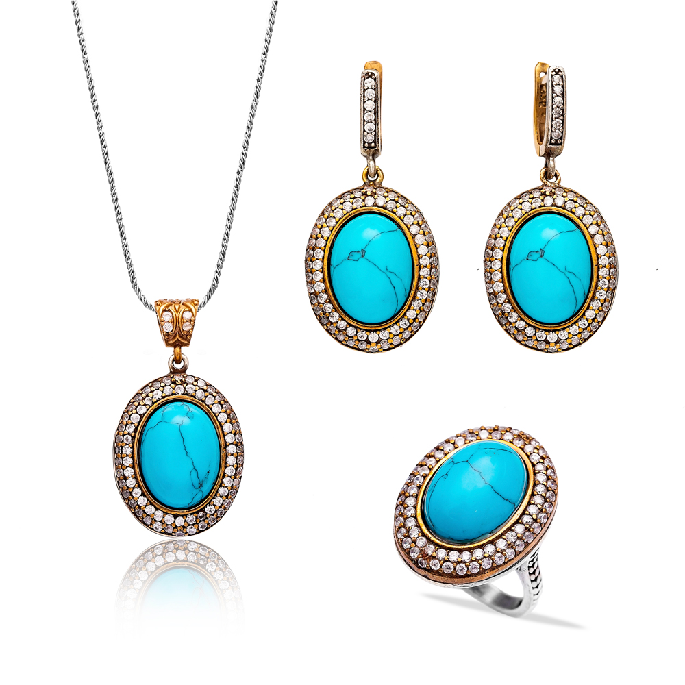 Oval Shape Turkish Authentic Handcrafted Wholesale Silver Set Jewelry 925 Silver Jewelry