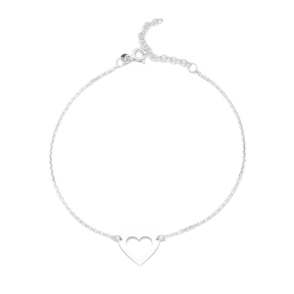 Silver Heart Anklet Wholesale Handmade Turkish Jewelry