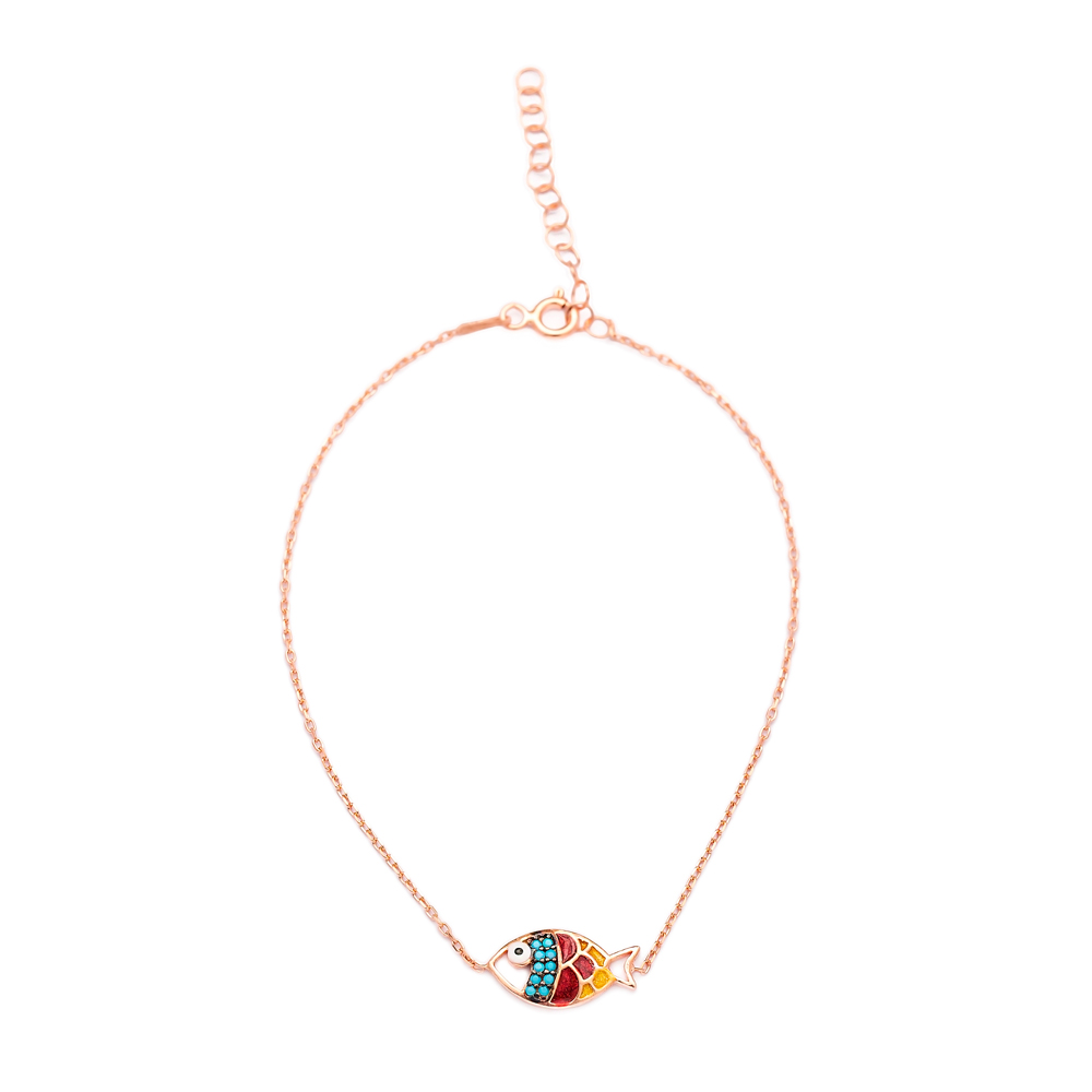 Enamel Colorful Fish Anklet Wholesale Handcrafted 925 Sterling Silver Jewelry