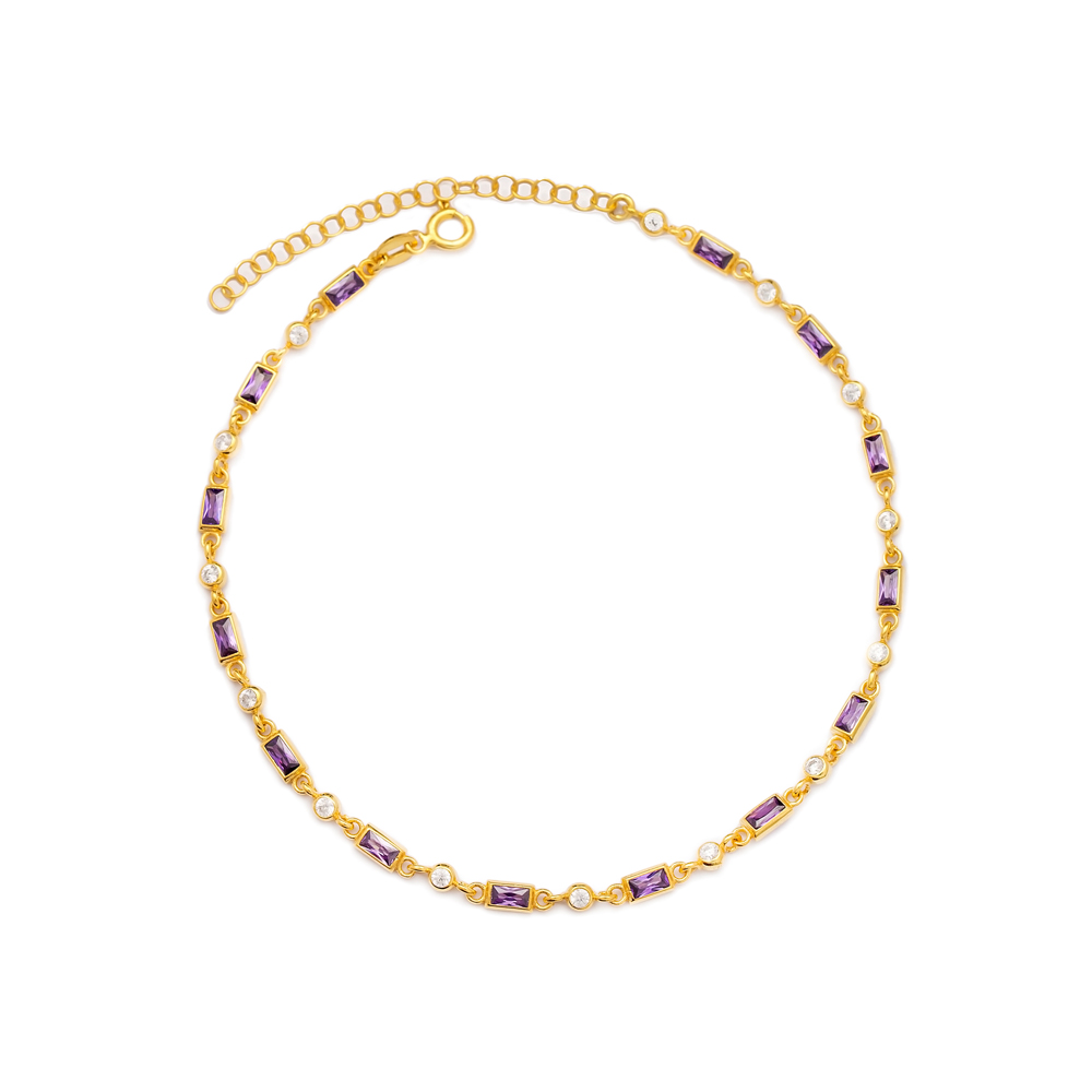 Amethyst Stone Design Anklet Turkish Wholesale Handcrafted 925 Sterling Silver Jewelry