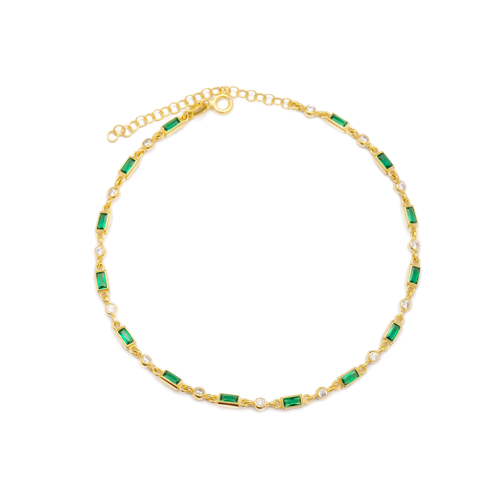Emerald Stone Design Anklet Turkish Wholesale Handcrafted 925 Sterling Silver Jewelry