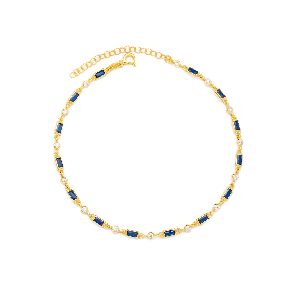 Sapphire Stone Design Wholesale Handcrafted 925 Sterling Silver Anklet
