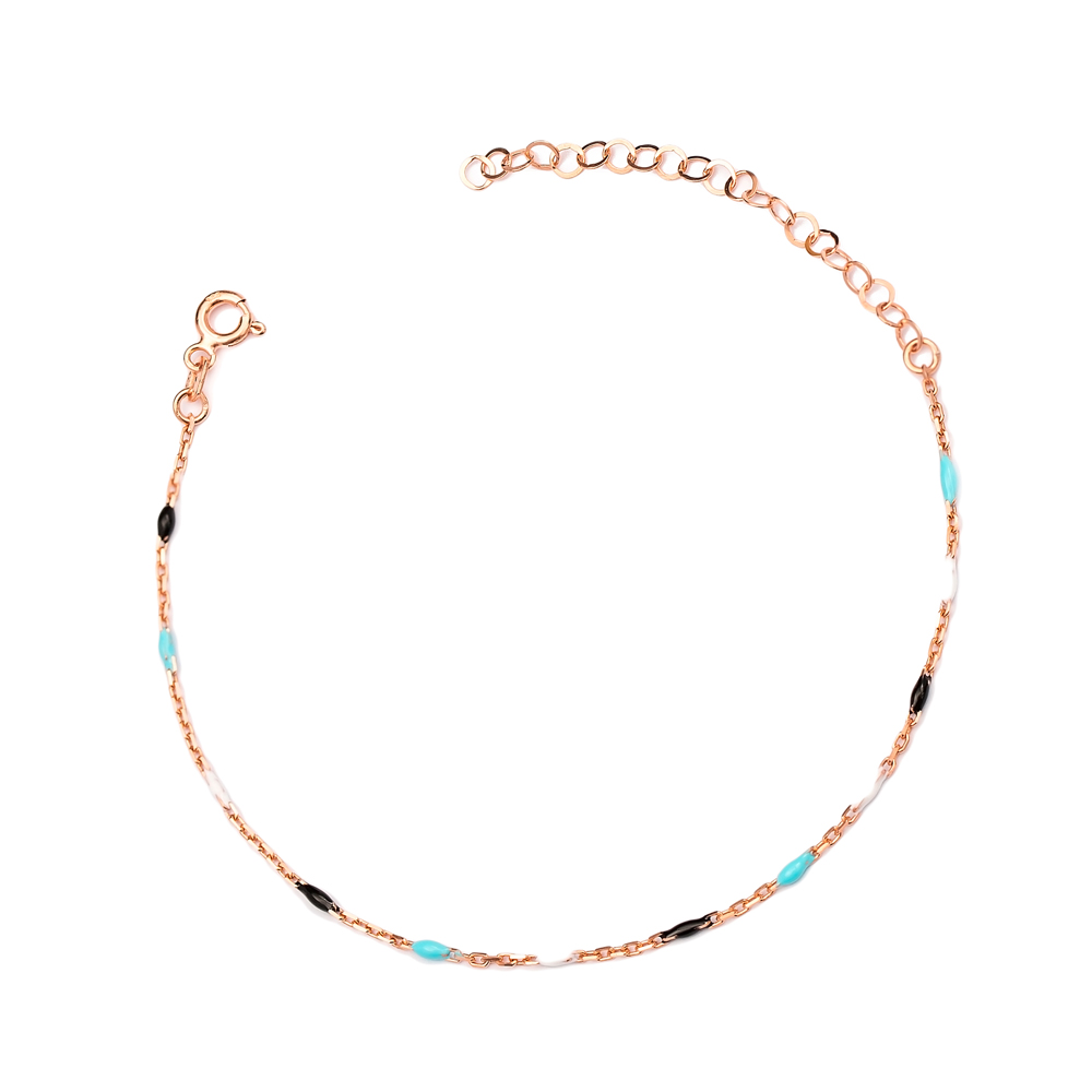 Colorful Enamel Chain Anklet Turkish Wholesale Handcrafted 925 Sterling Silver Jewelry