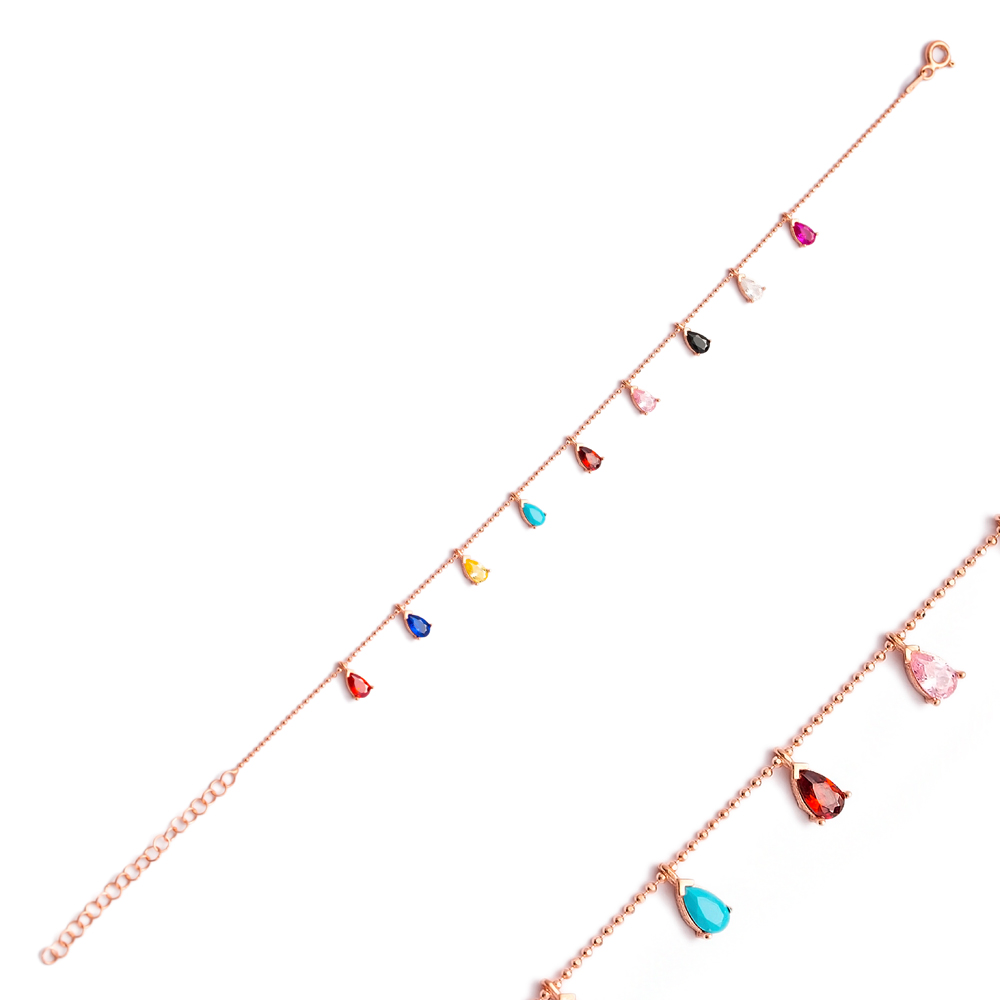 Minimalist Colorful Drop Stone Charm Silver Bracelet Wholesale Silver Jewelry
