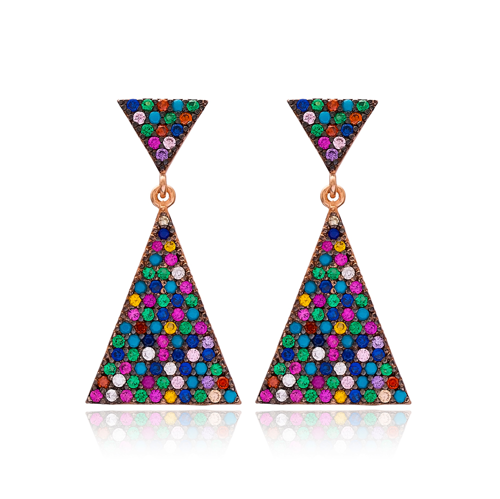 Rainbow Triangle Bridal Earring Turkish Wholesale Handcrafted 925 Silver